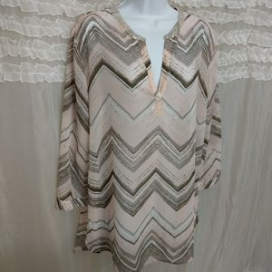 Chico's Semi Sheer Chevron Pastel Sequin Blouse 2
